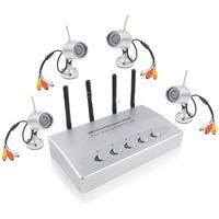 Wireless Security System 4Ch Network DVR W/4 IR Cameras, Night Vision Distance: 10m