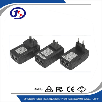 high quality factory price EU US UK type 48V 0.5A 24W POE adapter