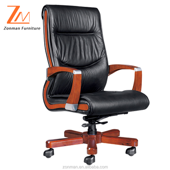 sneakers for cheap f5aaf 9c427 Multi-function Genuine Leather High Back Executive Office Chair With Wooden  Arms And Base - Buy Office Chair With Wooden Arms,High Back Executive ...