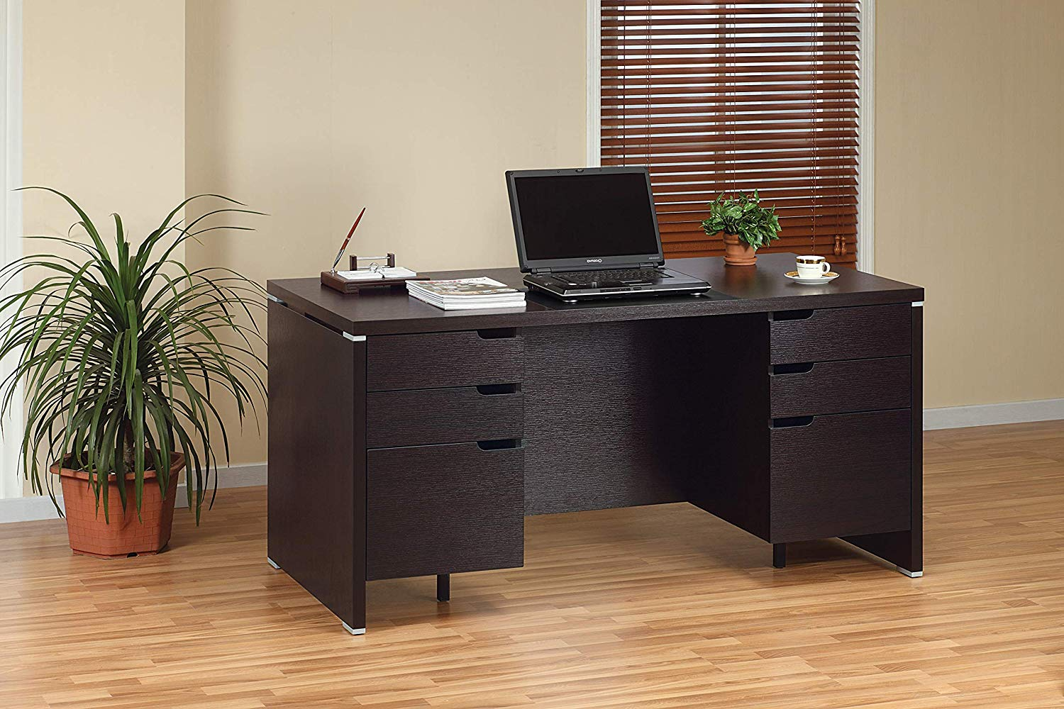 """Major-Q Modern Contemporary Style 30"""" H Home Office Heavy Duty Wooden Desk Workstation Espresso Finish Drawers, Id8010325"""