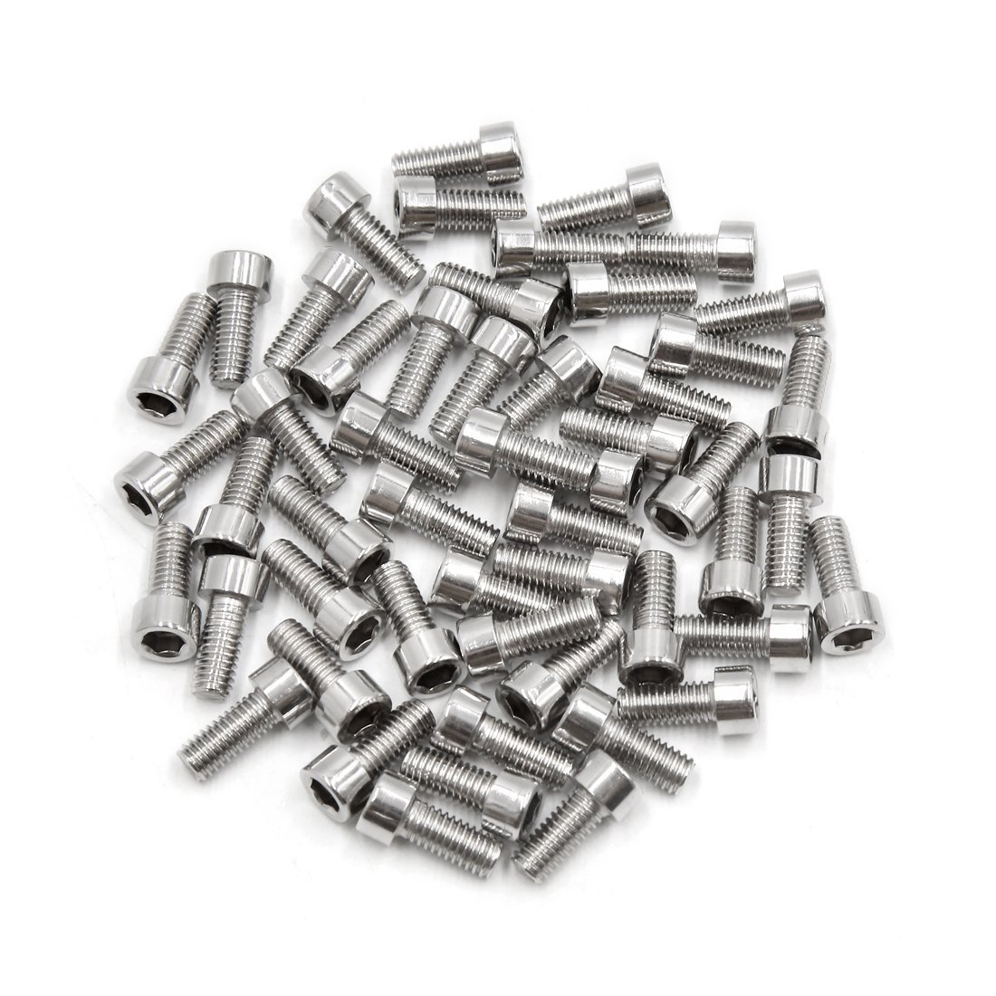 uxcell 50pcs Silver Tone Stainless Steel Motorcycle Hexagon Bolts Hex Screws M6 x 14