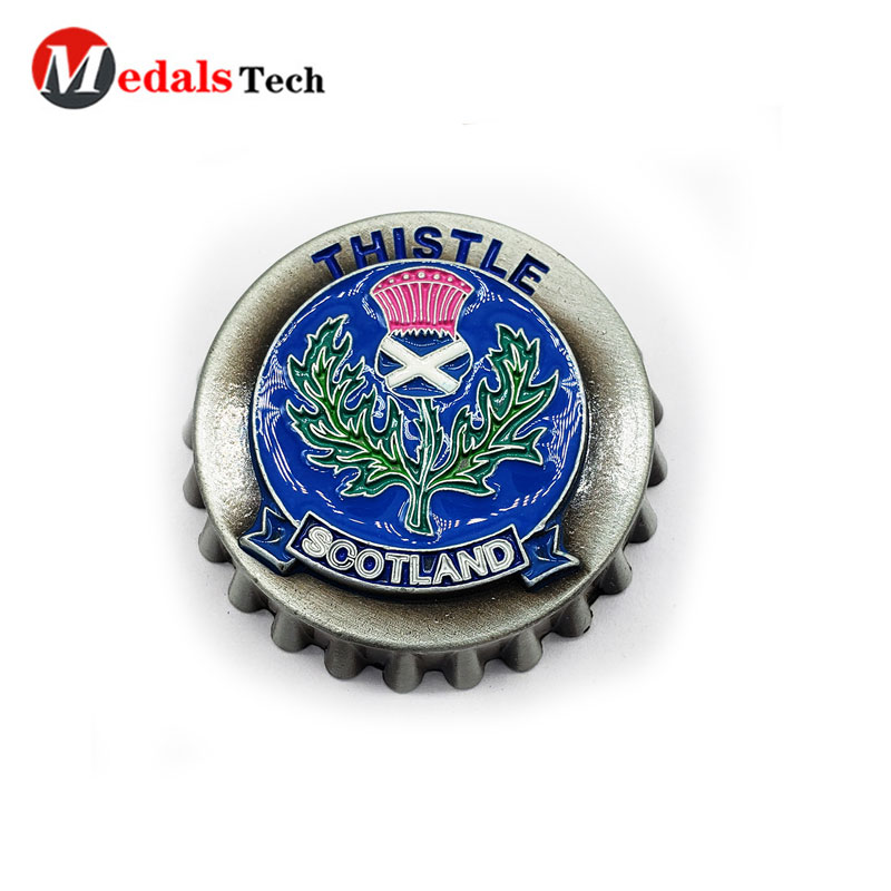Cheap metal  keychain pocket bottle opener with spinning badge