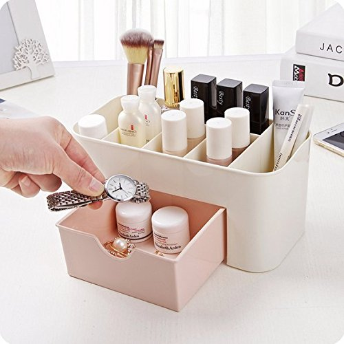 Chris.W Oval Beauty Supply Caddy Desk Cosmetics Organizer, Space Saving Office Writing Supplies Pencil Holder With a Drawer, 7 Compartments, Pink