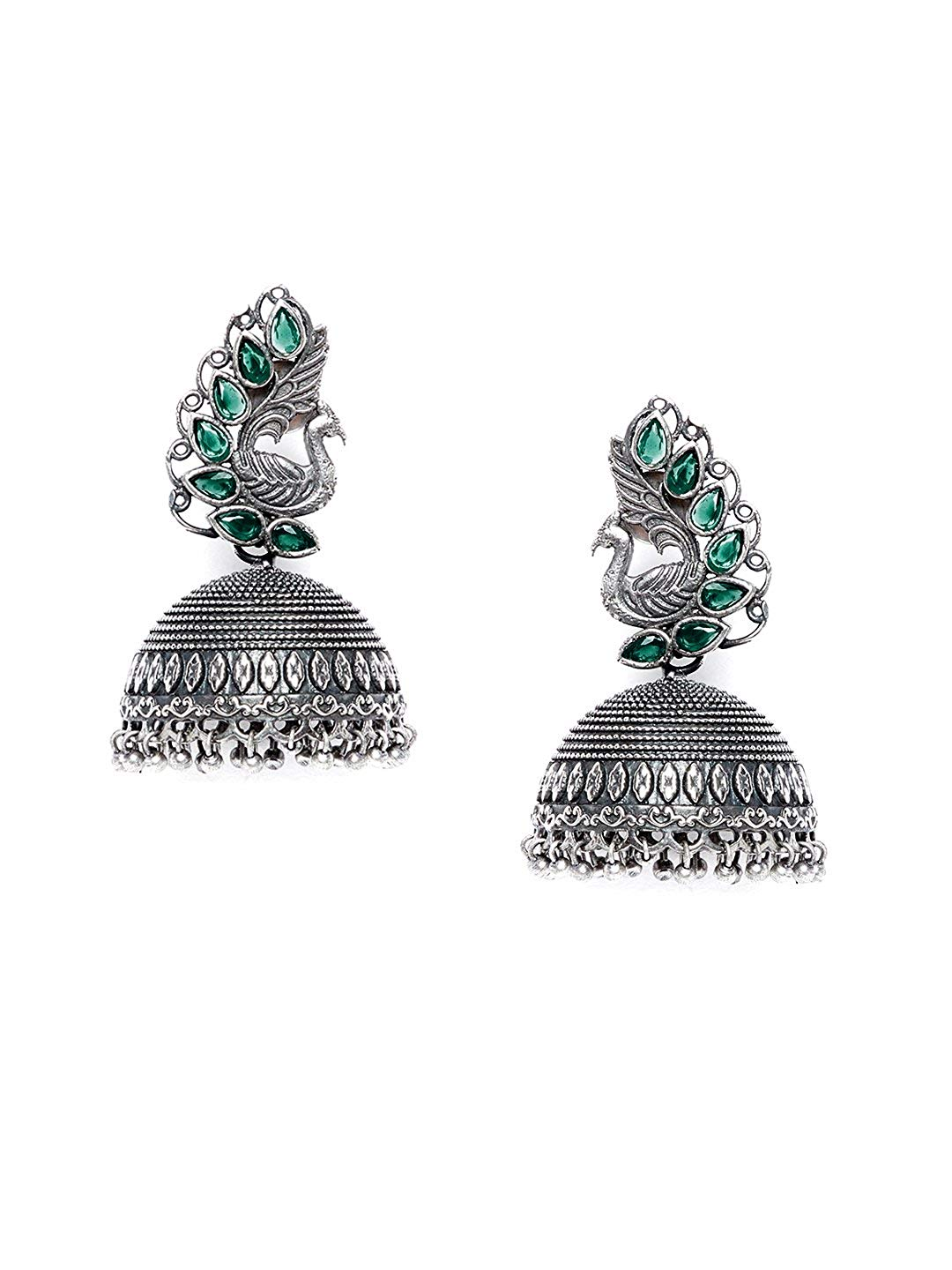 ZeroKaata/ Fashion Jewellery Floral Motifs Tribal Jewellery Silver Plated Jhumkis Combo For Women /& Girls