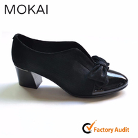 MK084-1 BLACK women ladies unique black leather elegant middle heel dress shoes ladies evening shoes with bowknot