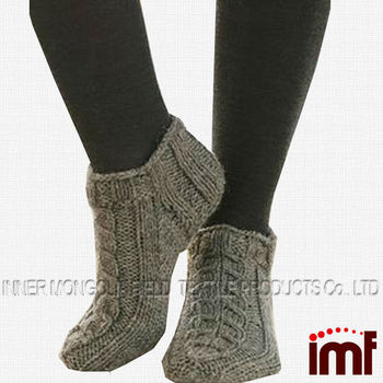 Women Hand Knitted Cable Knit Slipper Sock Buy Cable Knit Slipper