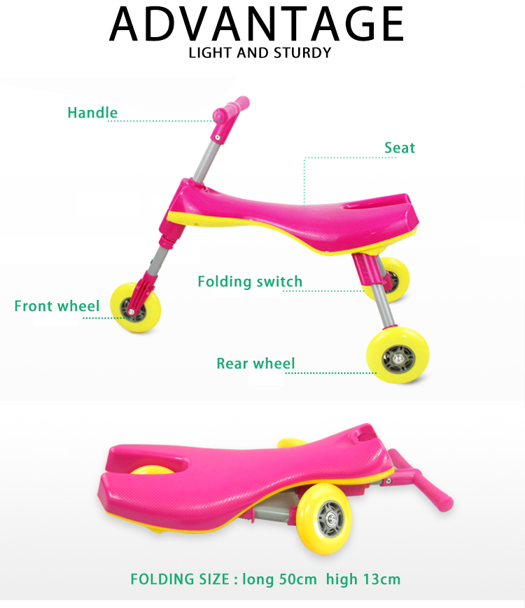 Cheap 3 wheel scuttle bug fold scooter baby tricycle ride on car for kids walker price