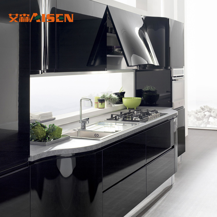 Modern High Glossy Black Lacquer Stainless Steel Kitchen Cabinet