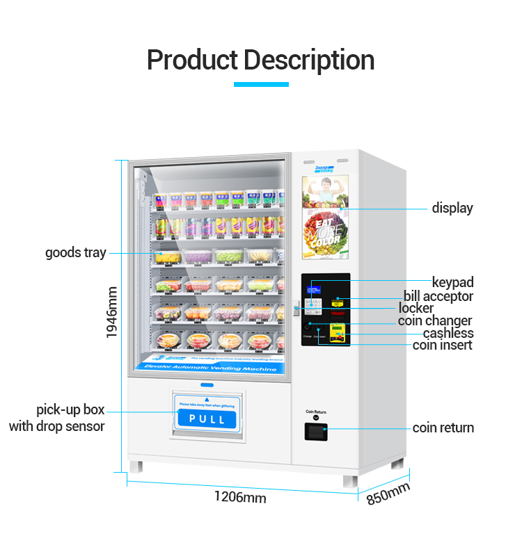 Zoomgu automatic salad vending machine with card reader