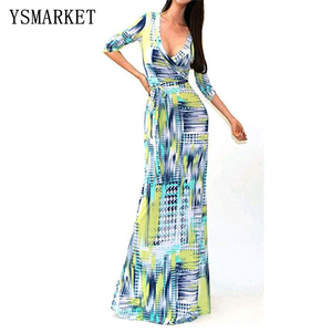 Long Floral Print Maxi Boho Dress Pattern Beach Color Block Tie Dye Printed Long Sleeve Front V Neck Shirt Dress with Belt