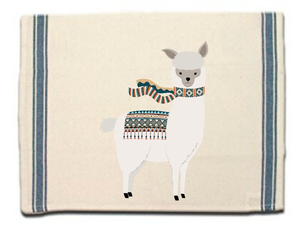 Alpaca in scarf Kitchen Towel, Dish Towel, Tea Towel, Flour Sack Material,Alpaca Dish Towels,Flour Sack Kitchen Towel, Whimsical Dish Cloth