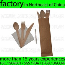 Disposable Wooden Knife Fork Spoon Napkin Disposable Cutlery Kit