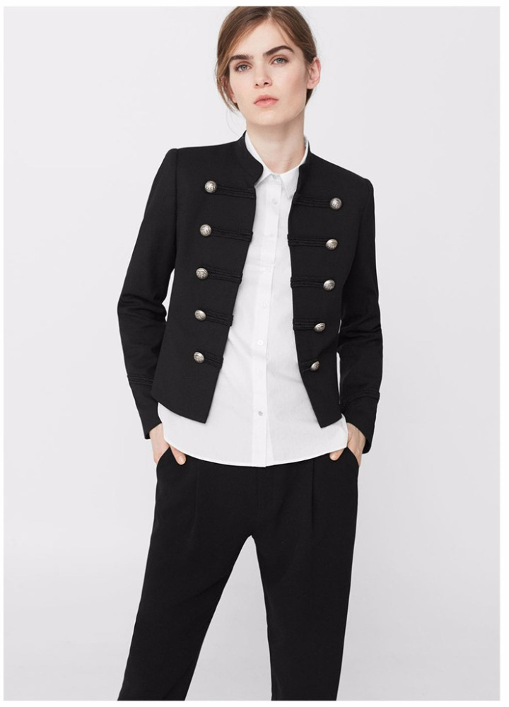 Shaohong OEM service high neck palace and double-breasted cotton women black jacket