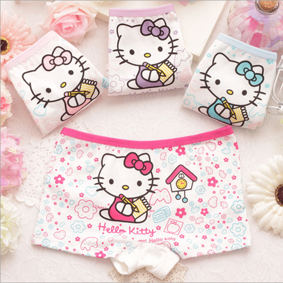 2016 cartoon cotton Girl underwear 2 10T one piece children cute briefs kids panties GU028 children
