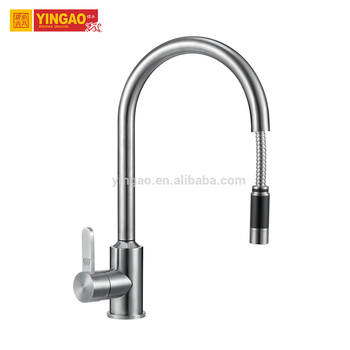 Brass polished single handle swivel pull out spray kitchen faucet