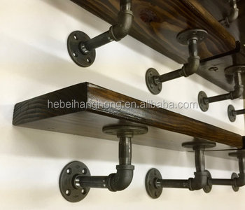 Diy Black Metal Pipe And Wood Shelves With Cast Iron Floor