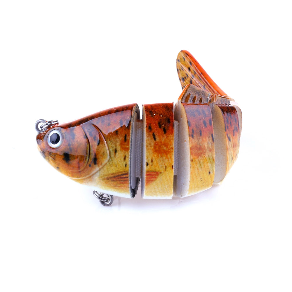 Bionic Multi Jointed Fishing Lure SUN-FISH Lifelike Hard Bait Bass Yellow Perch Walleye Pike Muskie Roach Trout Swimbait, 5 colours available/unpainted/customized