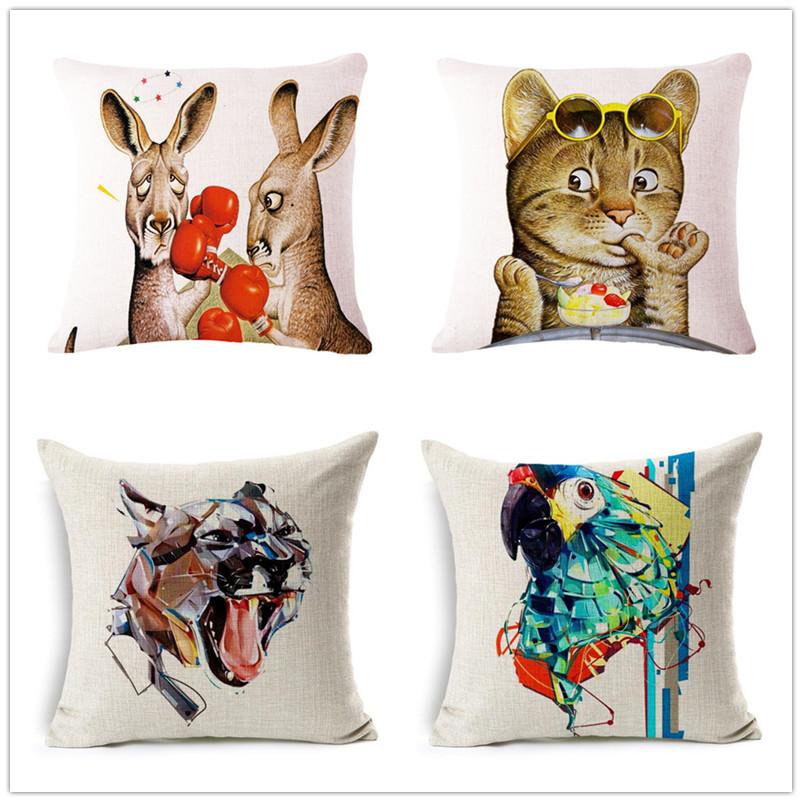 45cm kangaroo lion orangutans Fashion Custom DIY Cotton Linen Throw Pillow Hot Sale 18 Inch New Home Decor Sofa Back Cushion QJJ