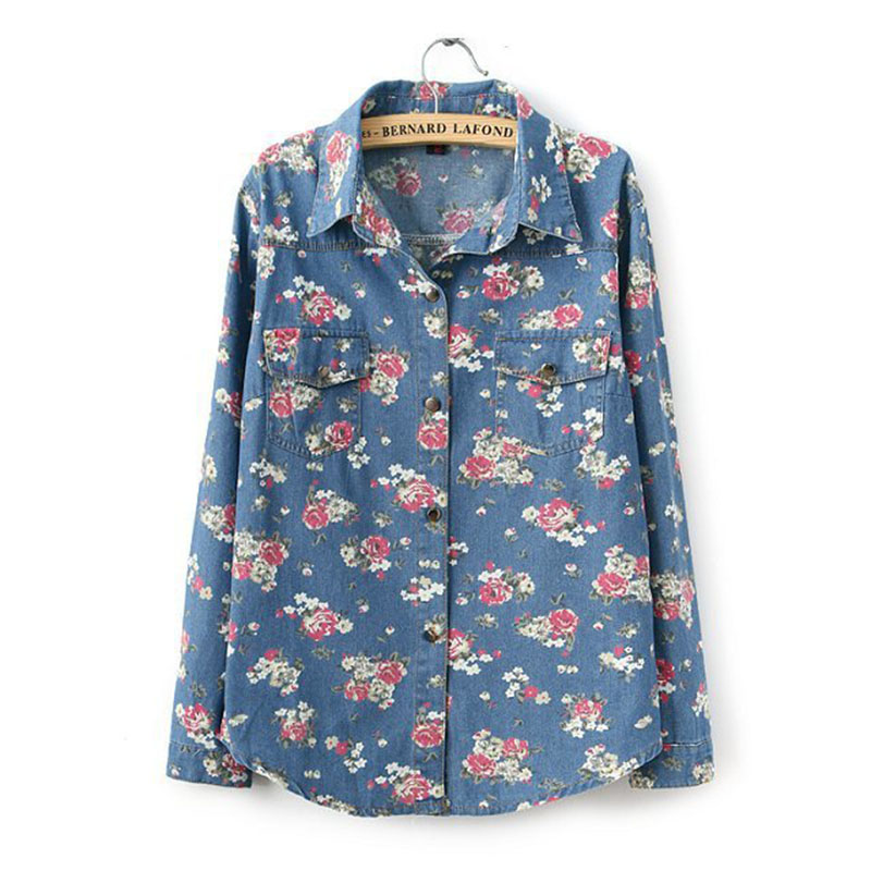 96c649d1e77 Get Quotations · Floral Printing Ladies Blouses Jeans Jeans-Shirt Blouse  Denim Saias Blusas Denim Shirt Women Tops