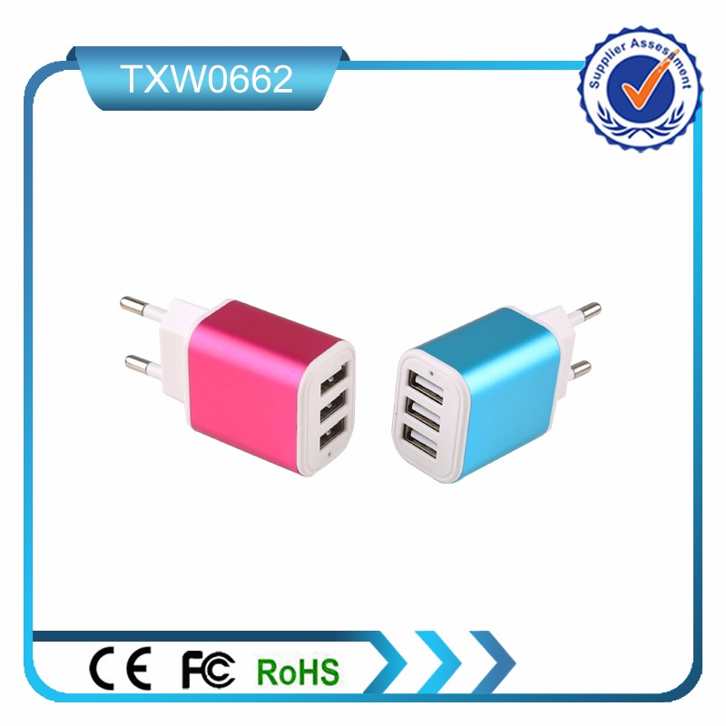 Promotional USB port wall charger with US EU plug for mobile phones