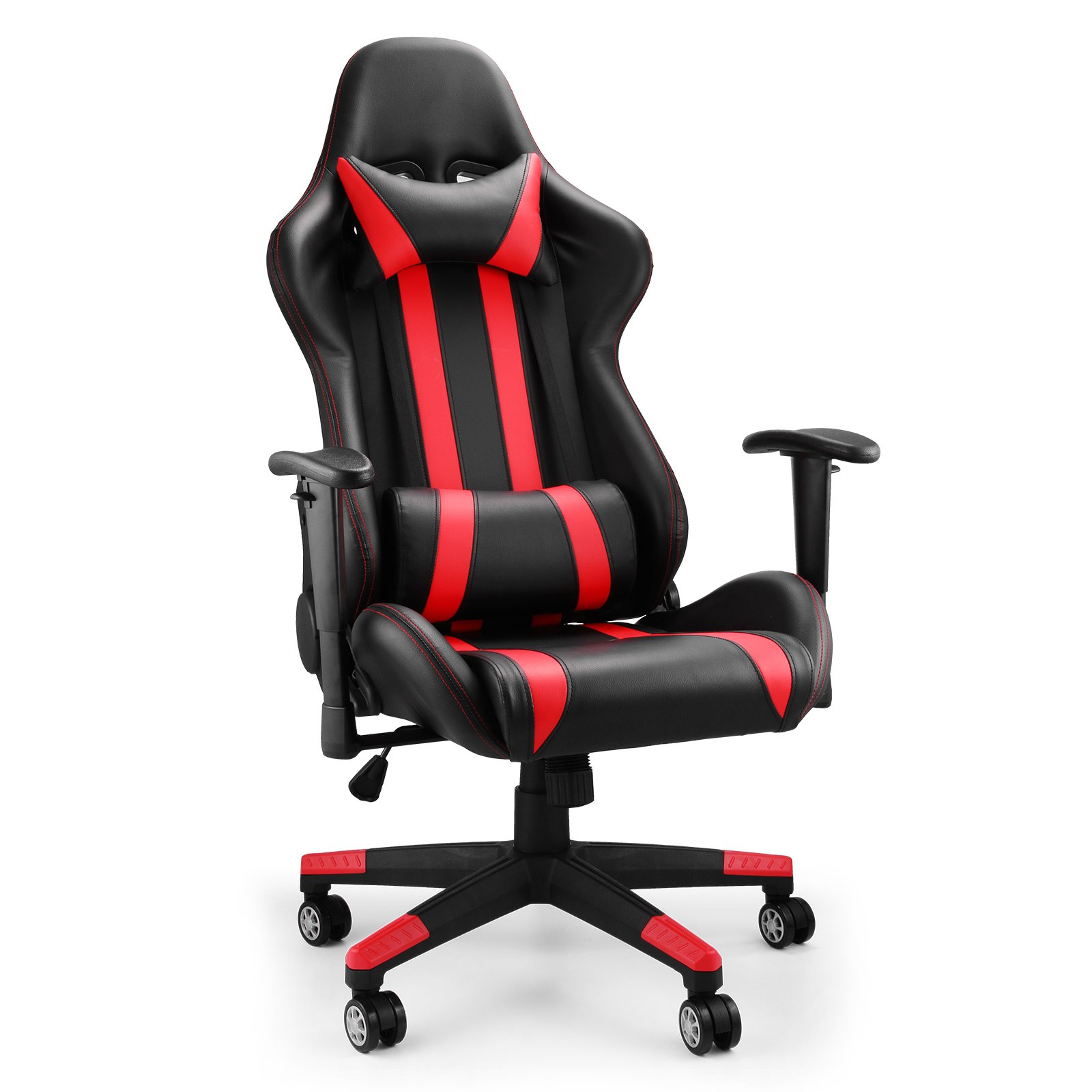 Mophorn High Back Reclining Chair Executive Racing Style Gaming Chair Ergonomic Design Racing Chair Rocker and Seat Height Adjustment Office Computer (Black and Red)