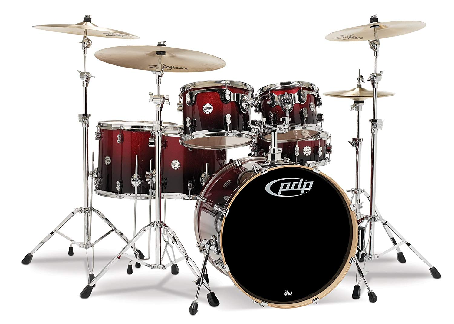 Pacific Drums PDCM2216RB 6-Piece Drumset with Chrome Hardware - Red to Black Fade