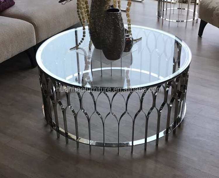 Wholesale golden or silver color stainless steel frame round marble top corner coffee tea table