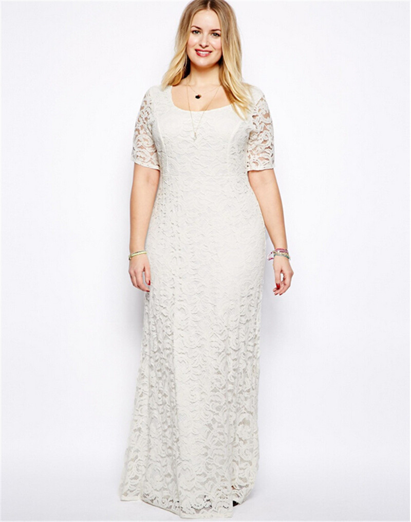 d85a8acdf75 Get Quotations · Plus Size 2XL-9XL Backless Floor Length Maxi Dress Lace  Hollow Out Short Sleeve Party