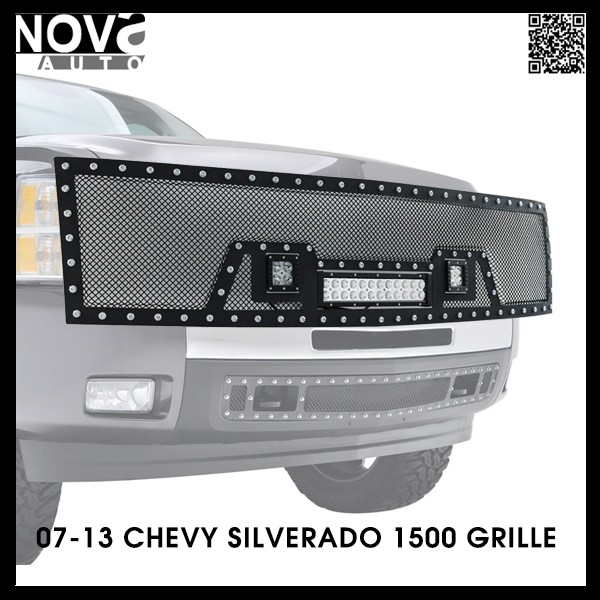Sema Award Manufactuter 07-13 Chevy Silverado Stainless Steel Mesh Grille For Car Light Bar