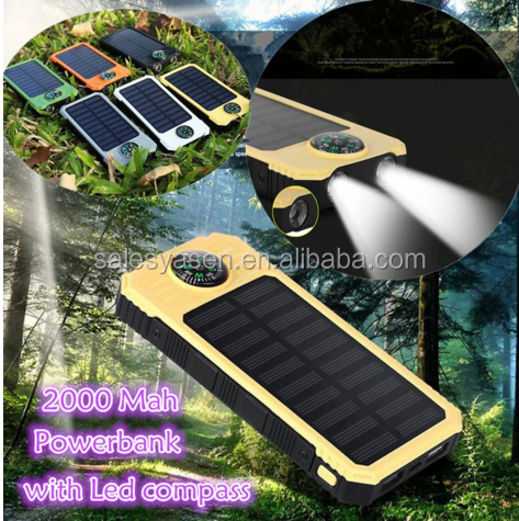 Compass 20000mah Solar Power Bank LED Charger Waterproof External Backup Battery Solar Power bank for SOS Outdoors Camping