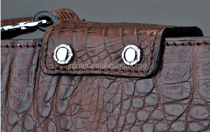 Genuine Exotic Leather Luxury Crocodile Men Briefcase Laptop Bag Brown OEM ODM