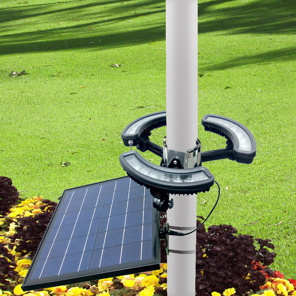 Outdoor Super Brightness Solar Flagpole Lights With Hoop For Yard Decoration Light Flag Pole Led