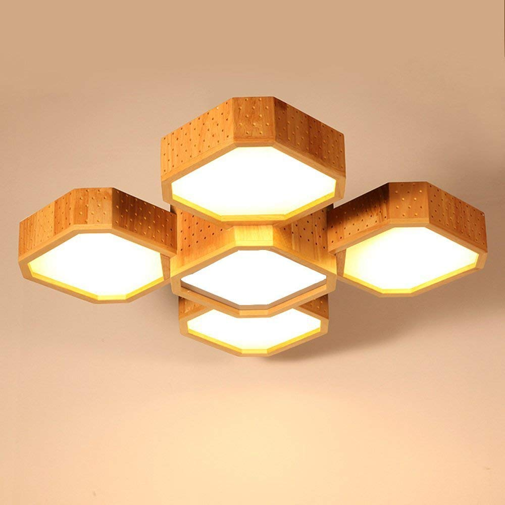 DIDIDD Ceiling light- creative solid wood led modern simple chinese adjustable light wood craft ceiling light balcony living room bedroom ceiling light --home warm ceiling lamp