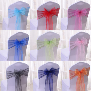 Cheap wedding sparkle organza chair sashes for chair covers