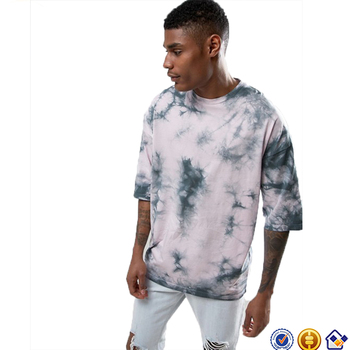 KY wholesale Crew neck Half sleeves Looser Oversized cotton t-shirt In Pink Tie Dye With Half Sleeve
