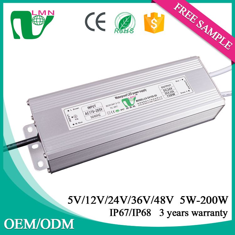 24V 6.25A non flicker waterproof electronic led power supply IP67