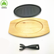 Hot sale Cast iron pre-seasoned fajita pan sizzler plate with wooden base with fork
