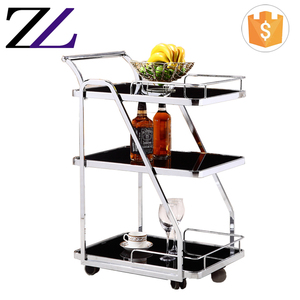 Hotel banquet equipment stainless steel food trolley room service coffee tea serving trolley cart prices in dubai
