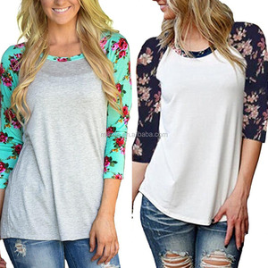 Cheap Wholesale Fashion Womens Prints Florals 3/4 Sleeve Crew Neck Top T shirts