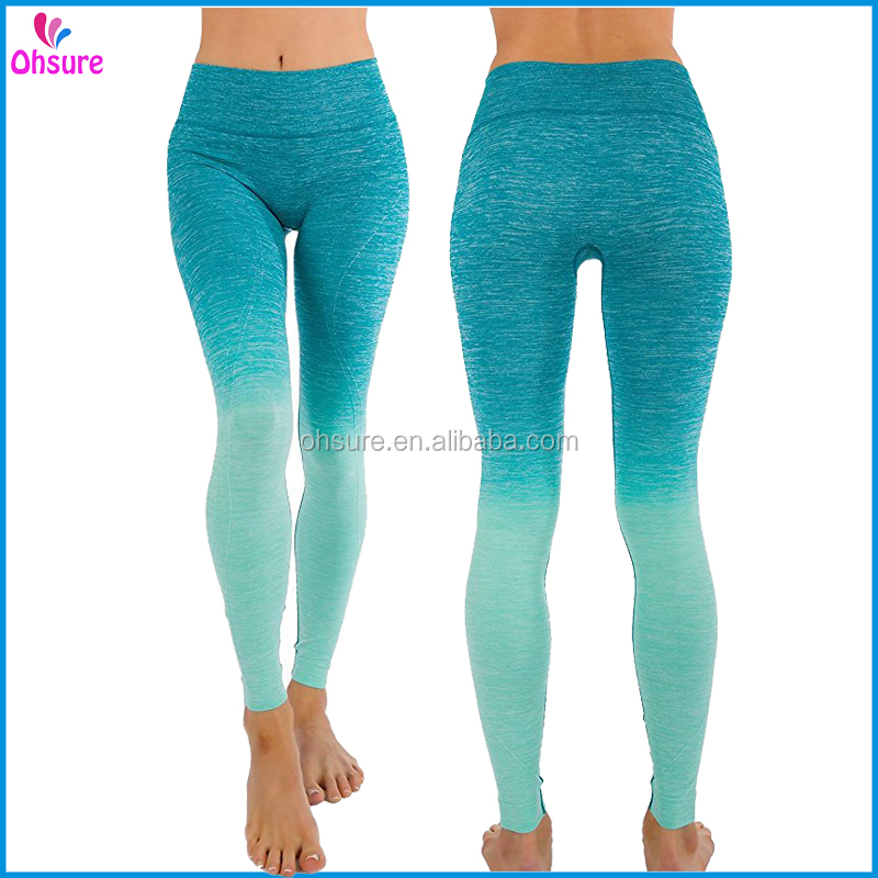 nylon/spandex sports tight running leggings womens seamless gym pants