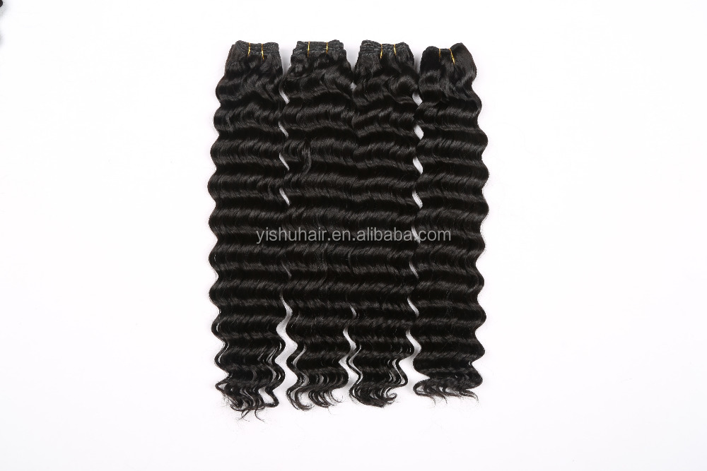 wholesale price chinese virgin deep wave hair wefts 100 India human hair extension