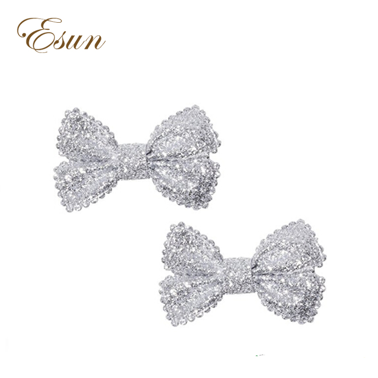 """4/"""" Black And Silver Glitter hair bow on a  Clip"""