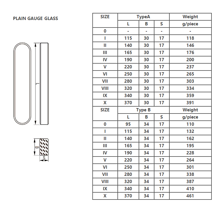 2019 Hot Item Customized B6 Plain Water Level Gauge Glass For Steam Boiler