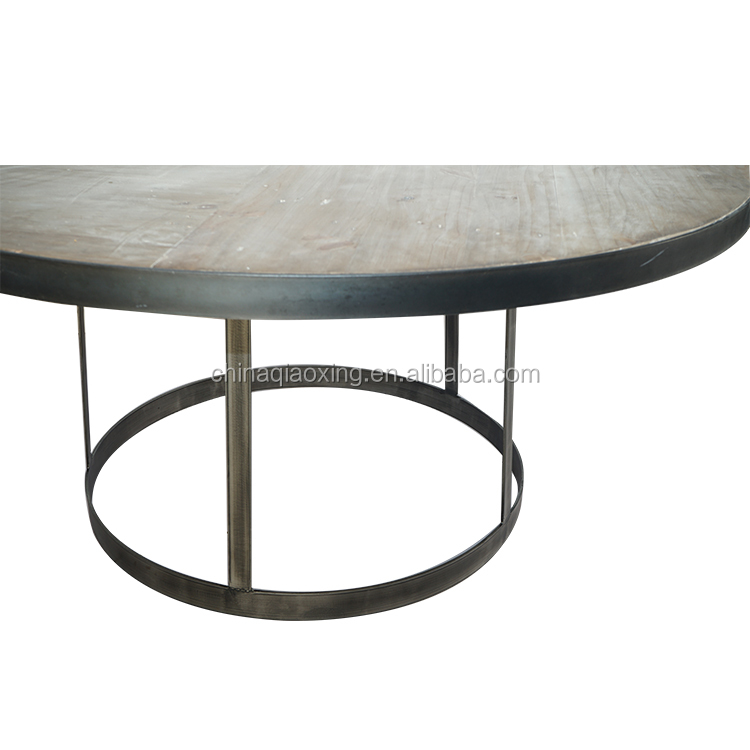 Distressed Handmade Industrial Furniture Vintage Rustic Wooden Dining Table / Round Restaurant Table