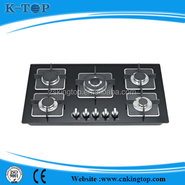 Guangdong famous OEM black glass top gas hob,glass gas cooktop with 16 years experience
