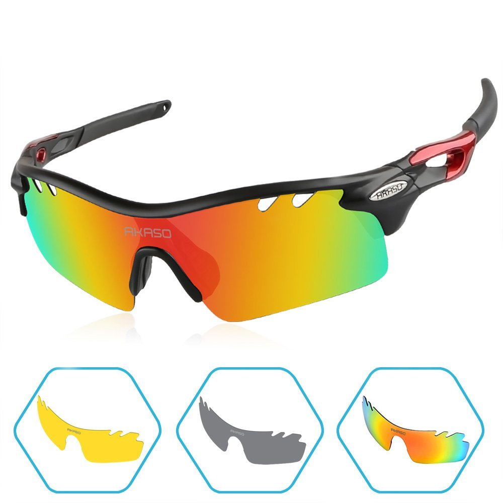 6440b8d4b86d Get Quotations · AKASO Polarized Sunglasses for Men, Tripolar Cycling  Sunglasses with 3 Interchangeable Polarized Lenses for Sports