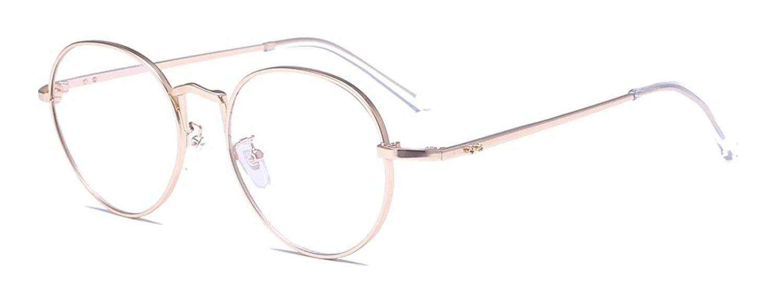 ALWAYSUV Retro Round Circle Metal Frame Clear Lens Glasses Non-Prescription