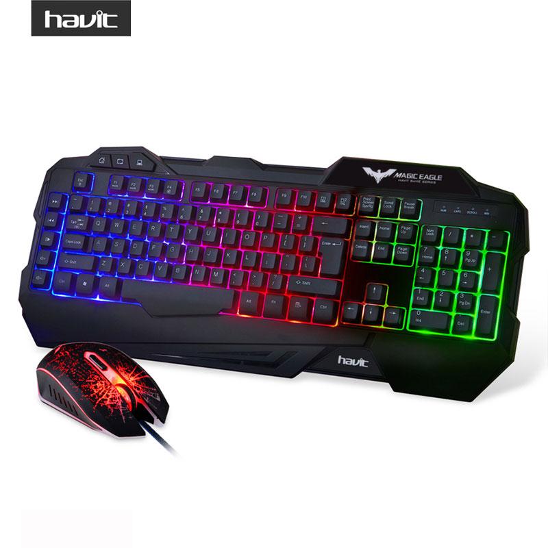 havit rainbow led backlit wired gaming keyboard and mouse combo black us layout kit gamer. Black Bedroom Furniture Sets. Home Design Ideas