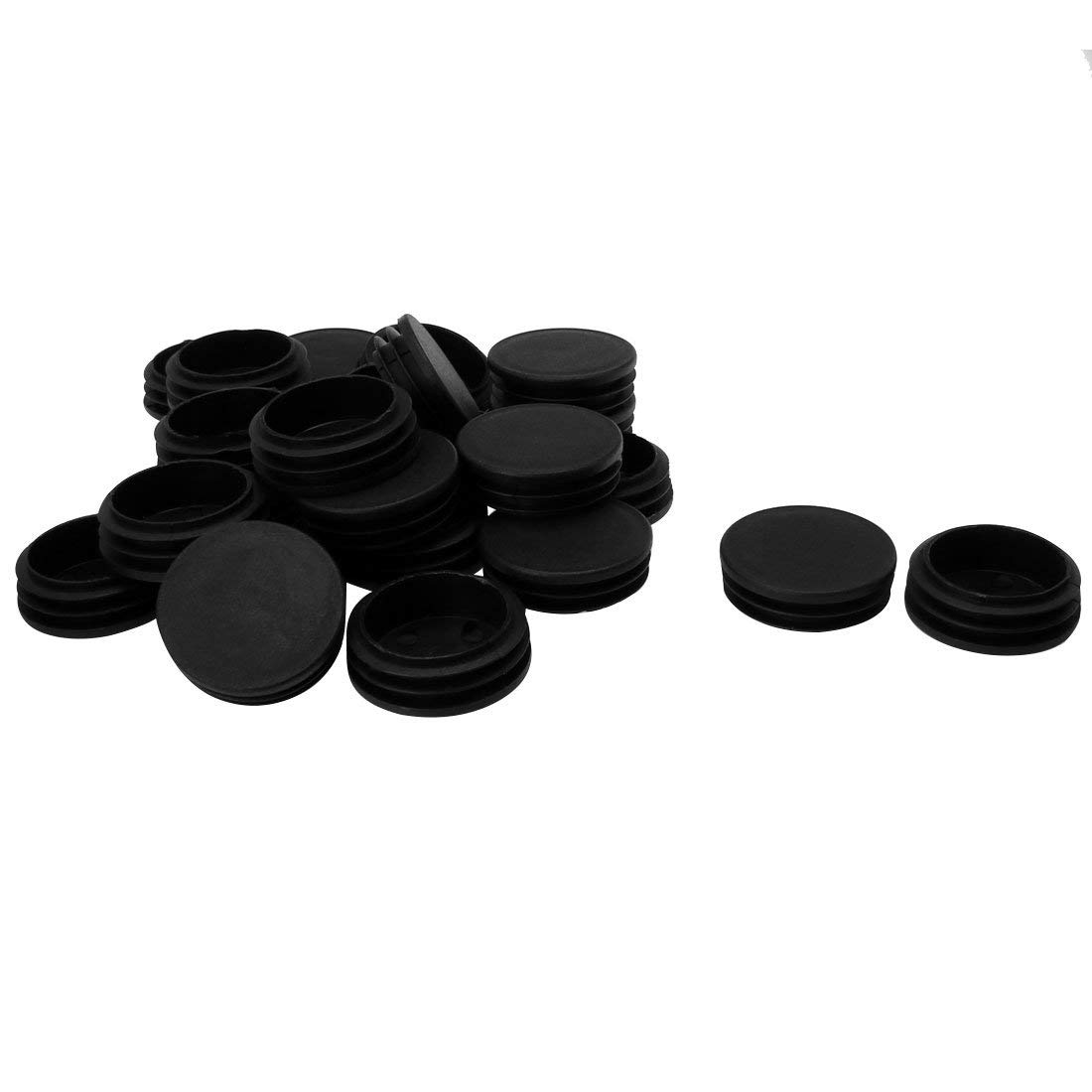 """uxcell 1 7/8"""" 48mm OD Plastic Round Tube Ribbed Inserts End Cover Caps 25pcs, 1.81""""-1.89"""" Inner Dia, Floor Furniture Chair Table Protector"""