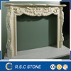 Natural indoor carved white marble fireplace